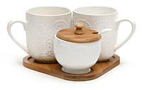 Набор чайный на подставке: чашка (2шт ) +сахарница с ложкой