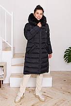 Жіночий стильний пуховик CoolZika Зн-4 з хутром, чорний