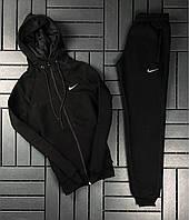 Мужской спортивный костюм зимний Nike CL черный с капюшоном теплый | Кофта на замке + Штаны на флисе Найк