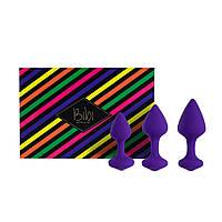 Набір силіконових анальних пробок FeelzToys - Bibi Butt Plug Set 3 pcs Purple