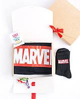 """Подарочный набор мужской. Футболка Черная с принтом """"Marvel"""", носки с принтом """"Marvel"""""""
