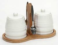 Набор для специй на бамбуковой подставке с метал. ложками