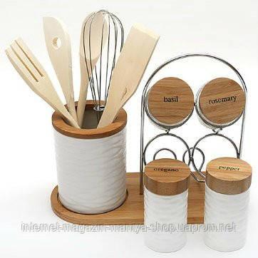 Набор на бамбуковой подставке: подставка для кухонных принадлежностей, 4 банки для специй