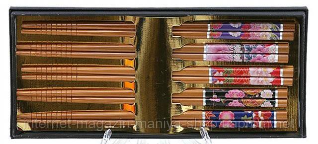Набор из бамбуковых палочек в подар. упаковке (5 пар)