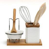 Набор: подставка для кухонных принадлежностей с аксессуарами, подставка под ложку с ложкой