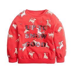 Свитшот для девочки утепленный с принтом оленей и надписью из пайеток Up to snow good Berni Kids (80) 100