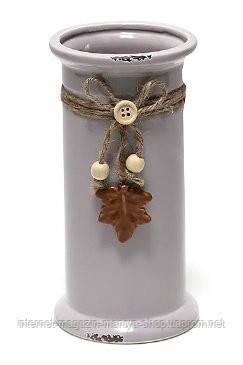 Ваза керамическая состареная с декором 19см