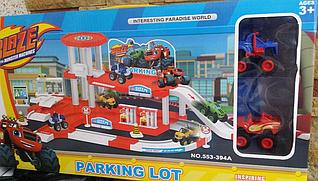 Парковка, автотрек гараж Вспыш і диво машинки 553-394 A у наборі 2 машинки і дорожні знаки