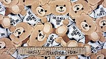 """Ткань футер двунитка с небольшим начесом цвет бежево-коричневый """"Мишка Тедди"""""""