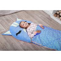 Детский спальный мешок трансформер Котенок голубой. Детский спальник, слипик детский, детское одеяло