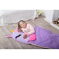 Детский спальный мешок трансформер Единорожек фиолетовый. Детский спальник, слипик детский, детское одеяло