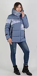 Ультрамодная зимняя короткая женская куртка голубого цвета