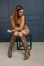 Сапоги чулки на молнии леопардовый принт 42 размер