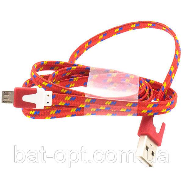 Кабель USB micro USB плоский/лапша в оплетке красный