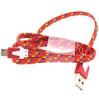 Кабель USB-micro плоский в оплетке (красный)