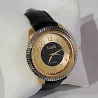 Классические мужские часы механические наручные на ремешке золотистые с серебром Luch Луч 901 123