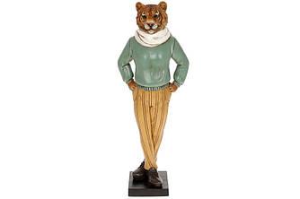 Статуетка Тигр в шарфі 37.5 см, колір - бірюза з жовтим. Символ 2022 року.