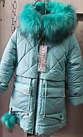 Яркая красная детская и подростковая зимняя куртка на девочку.
