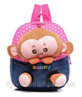 Детский рюкзак с игрушкой розовый, обезьянка