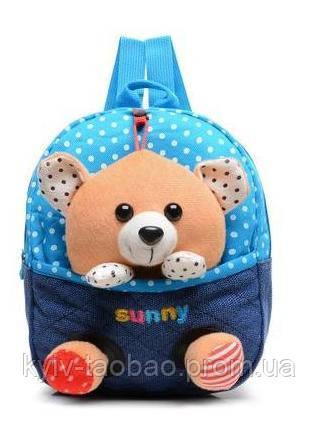 Детский рюкзак с игрушкой голубой, мишка