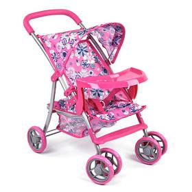 Игрушечная коляска для кукол летняя прогулочная детская Розовая (59277)