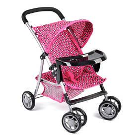 Коляска для кукол детская игрушечная прогулочная летняя с корзиной Розовая (59278)