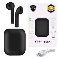 Беспроводные наушники V99 черные с зарядным кейсом сенсорные с микрофоном