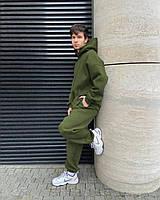 Спортивный теплый мужской костюм, однотонный трикотаж на флисе свободного кроя oversize зеленый XXL