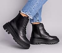 Ботинки женские зимние черные кожаные на тракторной подошве, фото 1