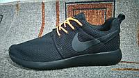 Мужские повседневные кроссовки Roshe Run черные с оранжевым, фото 1