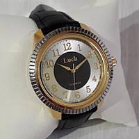 Класичні годинники чоловічі механічні наручні на ремінці золотисті Промінь Промінь 901 123