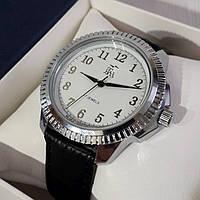 Годинники чоловічі механічні класичні наручні сріблясті з білим на ремінці Промінь Промінь 901 122