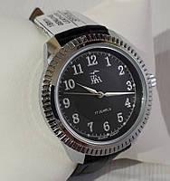 Годинники чоловічі механічні класичні наручні сріблясті з чорним на ремінці Промінь Промінь 901 122