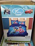 Комплект постільної білизни дитячий Тачки полуторний розмір 160*210 см Байка ( Фланель) Синій колір, фото 5