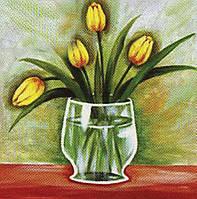 """950577 Холст с контуром """"Желтые тюльпаны"""" (30*30)"""