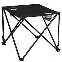 Стол складной для кемпинга, пикника и рыбалки Springos CS0013 черный стальной 46x46x45 см с нагрузкой до 20 кг