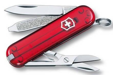 Функциональный складной перочинный нож Victorinox Classic Sd 06223.T красный прозрачный