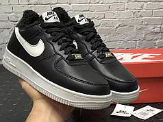 Зимові чоловічі кросівки Nike Air Force black з хутром. ТОП Репліка ААА класу.