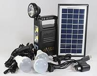 Фонарик с солнечной батареей   USB порт   3 подвесные лампочки  USB кабель с переходниками  GD 8033
