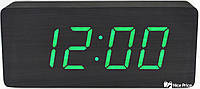 Часы VST 865 черное дерево (зеленая подсветка) (3789) GB