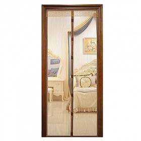 Москітна сітка на магнітах антимоскітна штора на двері Magic Mesh Бежева