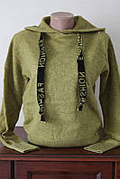 Кофточка жіноча однотонна з капюшоном