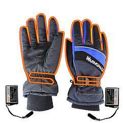 Зимние перчатки с подогревом термо лыжные Luckstone Warmspace HE329 с аккумуляторами, размер L, синие