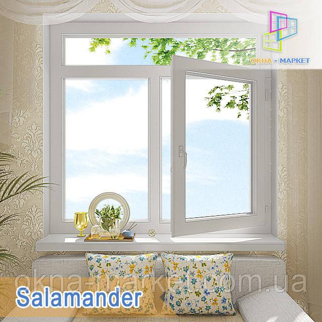 """Окно с фрамугой Salamander eco Streamline 1400x1700 """"Окна Маркет"""""""