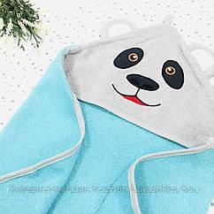 Полотенце-уголок махровое Панда из 100% хлопка, 80*80 см