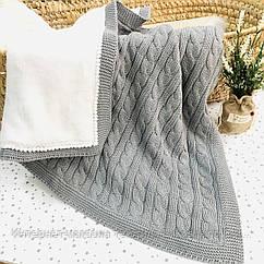 Плед вязанный утепленный серого цвета с помпончиками 95*75 см (90% хлопок, 10% акрил)