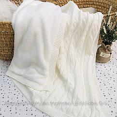 Плед вязанный утепленный молочного цвета 95*75 см (90% хлопок, 10% акрил)