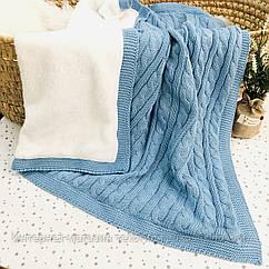 Плед вязанный утепленный голубого цвета 95*75 см (90% хлопок, 10% акрил)
