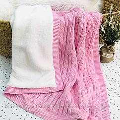 Плед вязанный утепленный ярко-розового цвета 95*75 см (90% хлопок, 10% акрил)
