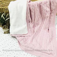 Плед вязанный утепленный розового цвета с помпончиками 95*75 см (90% хлопок, 10% акрил)